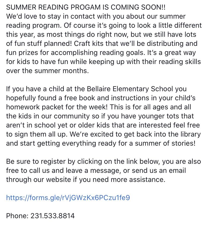 Summer reading program registration
